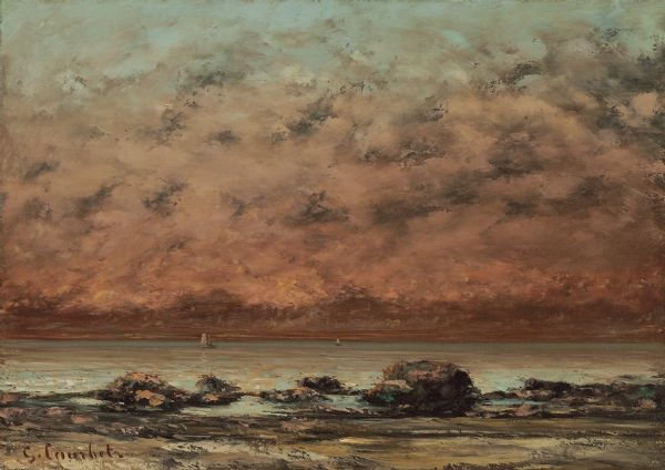 Courbet, Gustave: The Black Rocks at Trouville. Fine Art Print/Poster. Sizes: A4/A3/A2/A1 (003563)